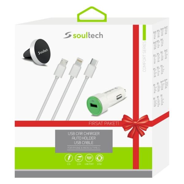 Soultech MIX001 Araç Şarjı+3 USB Kablo+Araç Tutucu