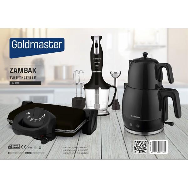 Goldmaster Zambak Siyah Çelik Elektrikli Çeyiz Seti ın-6710